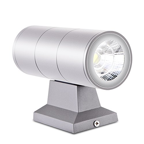 Powstro Two-Light Outdoor Wall Fixture, Wall Sconce Up and Down Light Waterproof 10W LED Dual Head Lamp for Front Door, Yard, Garage, Deck - Cool White 10 Led Dual Head