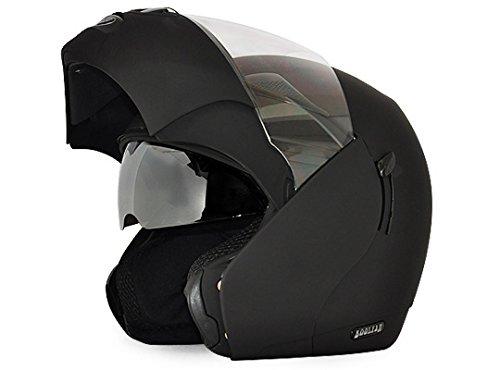 Vega Boolean Flip-up Helmet with Double Visor (Dull Black, M)