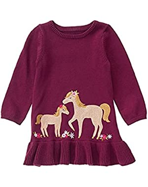 Toddler Girl's Cranberry Pony Sweater Dress