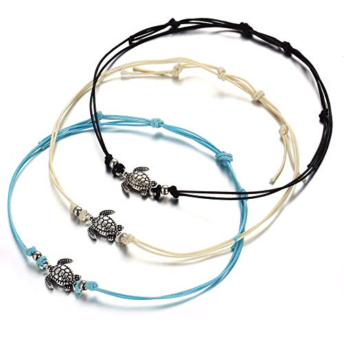 (GUFER 3pcs Turtle Pendant Anklets Set Handmade Tricolor Wax Rope Adjustable Foot Chain Beach Barefoot Anklet Summer Jewelry)