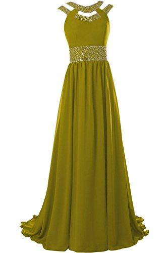 Missdressy - Vestido - plisado - para mujer amarillo (mostaza)