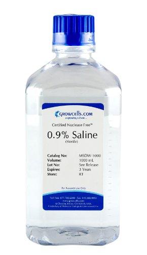 Growcells MSDW-1000-12 Sterile Saline 0.9% NaCl Solution (Pack of (Sodium Chloride Saline)