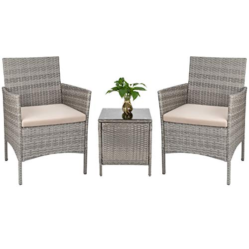 Tuoze 3 Pieces Porch Furniture Set Outdoor Patio Sets PE Rattan Wicker Conversation Set with Beige Cushion and Table Backyard Porch Garden Poolside Balcony Grey
