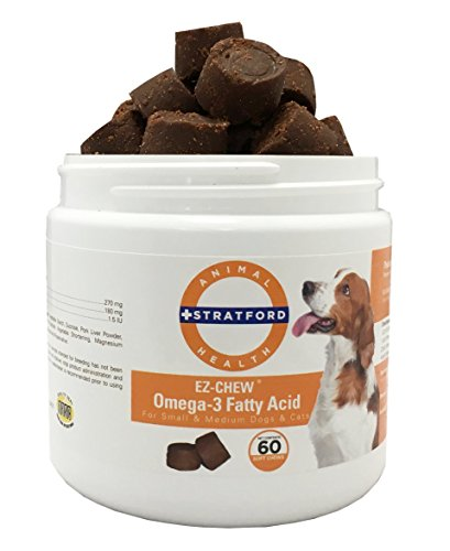 Stratford Pharmaceuticals EZ Chew Omega 3 Fatty Acid Soft Chew Max Strength - Dog Omega 3 Supplement - Soft Chew Treats with Fish Oil for Dogs - Small and Medium Dogs - 60 Soft Chews