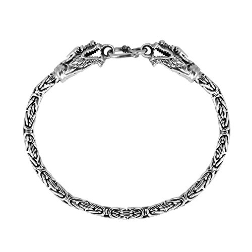 AeraVida Double Headed Dragon Balinese Thai Yao Hill Tribe Fine Silver Link Bracelet - Hill Tribe Silver 10mm