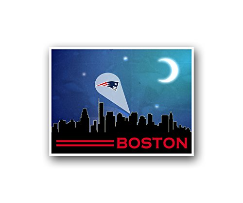 New England Patriots Poster Sports Art City Skyline Print Mancave Decor