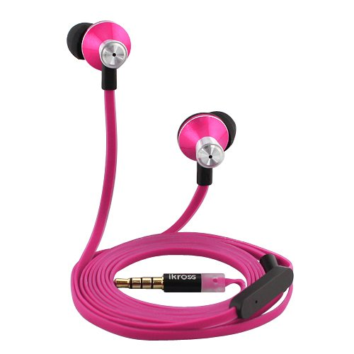 iKross In Ear 3.5mm Noise Isolation Stereo Earbuds with Microphone Hot Pink for Samsung Galaxy S4, Note 2 N7100, Galaxy Tab 3, Tab 2, Blackberry, iPhone, Smartphone, Cell Phone, MP3 Player and Tablet