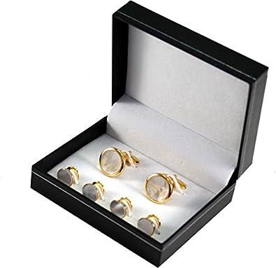 Gemelos y smoking botones/en estuche de regalo, Linden hombre, nácar, dorado, 990013: Amazon.es: Joyería