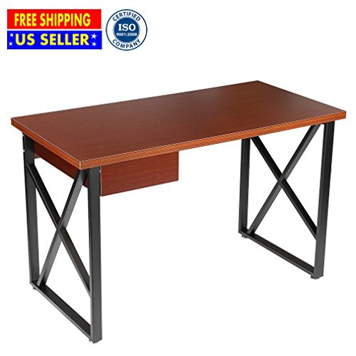 Cirocco Wooden Computer Desk with Drawer Brown 120 x 60 x 74.5 cm – Composite Wood Board Table Workstation Safe Sturdy Durable   For Desktop Home Office PC Notebook Study Writing Sketchpad Bedroom by Cirocco
