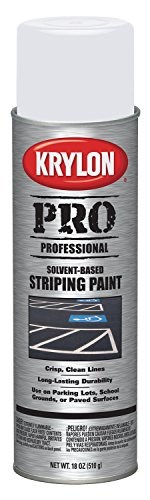Krylon K05910007 Solvent-Based Professional Striping Paint, Highway White, 18 Ounce (Striping Spray Paint)