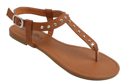 Womens Roman Gladiator Spike Studded T Strap Sandals Flats Shoes (8, Brown 2202)