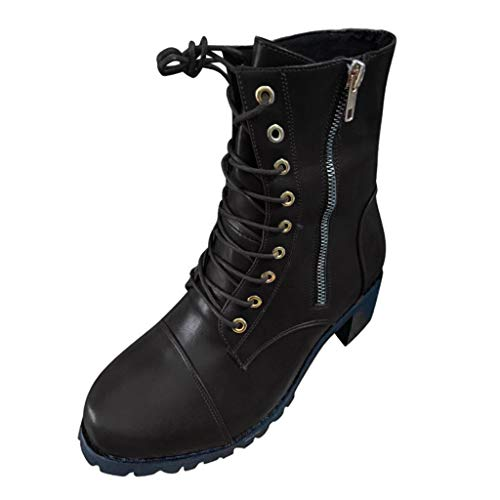 〓COOlCCI〓Mid Calf Boots, Womens Round Toe Military Lace up Ankle Cuff Low Heel Side Zipper Combat Boots Chelsea Boot Wine