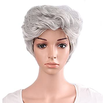 La vieja dama Haned plata blanco Secador de pelo rizado peluca High-Grade Rose Snoodperformance
