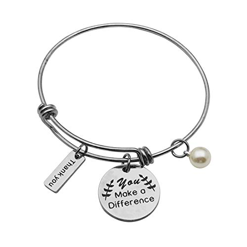Beeshion Thank You Gifts You Make a Difference Bracelet Stainless Steel Charm Volunteer Appreciation Jewelry Gift for Employee/Mentor/Doctor (You Make a Difference Bangle) -