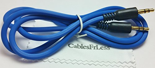 CablesFrLess® Brand 3ft 3.5mm Heavy Duty Audio Stereo Jack Cable Fits Iphone® 6, Ipad®, and most standard Cell phones and tablets(Blue)