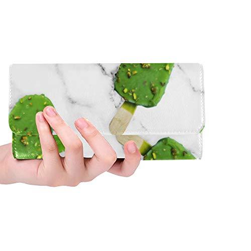 Unique Custom Green Ice Cream Girl Color Sweet Women Trifold Wallet Long Purse Credit Card Holder Case Handbag