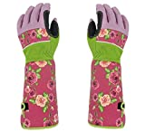 Rose Pruning Thorn-Proof Gardening Gloves with Forearm Protection for Men and Women. Puncture Resistant Gardening Glove (Small-pink)