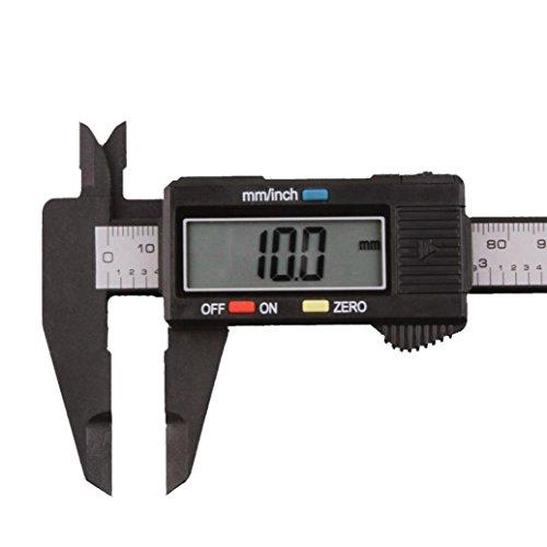 Digital Caliper Vernier, Fashion Electronic Digital Caliper Measuring Tool 6 Inch 150mm Large LCD Screen Vernier Caliper Ruler Carbon Fiber Gauge Micrometer Measuring Tool (Black)