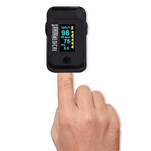 Santamedical Dual Color OLED Pulse Oximeter Fingertip, Blood Oxygen Saturation Monitor (SpO2) with Case, Batteries and Lanyard