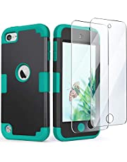 iPod Touch Case with 2 Screen Protectors, iPod 6 & 5 Case, IDweel 3 in 1 Hard PC Case + Silicone Shockproof for Kids Heavy Duty Hard Case Cover for 2019 iPod Touch 7th/6th/5th Gen, Black+Blue