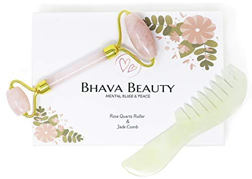 - Rose Quartz Face Roller/Face Massager & Jade Hair Comb for Women|2 in 1 Gold Handles|100% Natural Anti-Aging Tool for Use with Face Moisturizer and Serum|by Bhava Beauty