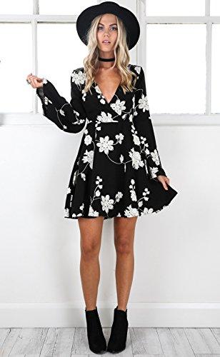 WOZNLOYE Damen Sommer Kleider Fashion Falten Druck Kleider ...
