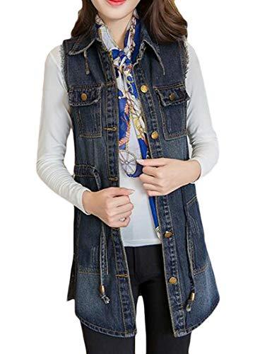 蒸し器壊す招待Valoda 女性のポケット付き巾着ウエストデニムベストノースリーブジーンジャケット