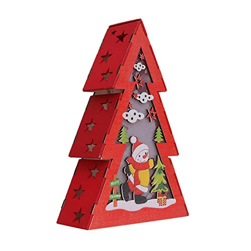 Amaping Wood Clearance Carved Cedar Shape Pattern Christmas LED Portable Display & Stands Light with LED Tea Light for Kids Bedroom Home Decor (Snowman)