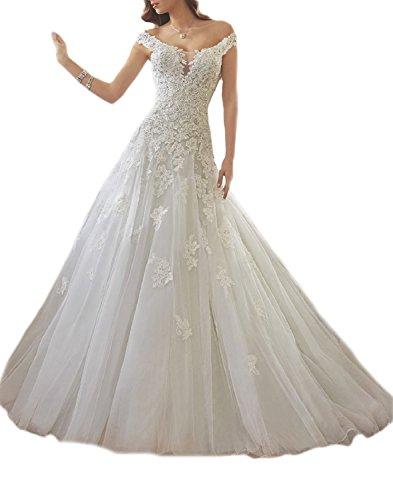 Udresses Off Shoulder Lace Wedding Dresses A-line Beaded Bridal Dress Tulle UWD7 Ivory 12 by Udresses