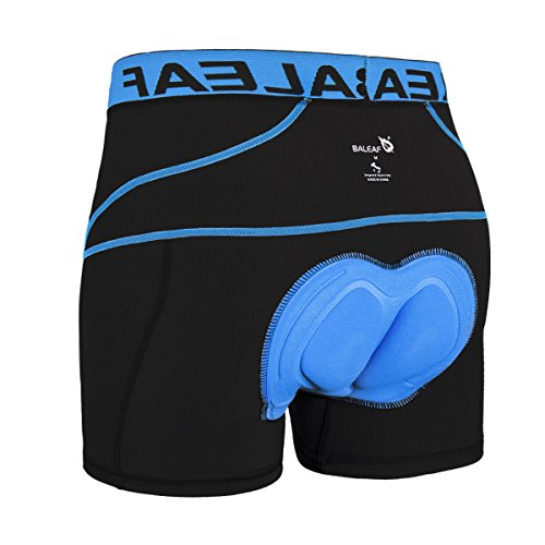 Baleaf Men's 3D Padded Bike Bicycle MTB Cycling Underwear Shorts (Blue, L)