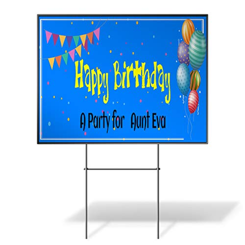 Custom Personalized Yard Sign Happy Birthday Party for Aunt Name Blue Two Sides Print (Best Fastasticdeals Aunts)
