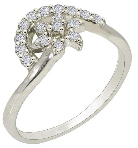 Banithani 925 argent pur beau design cz bijoux fantaisie charme bague en pierre