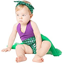 belababy Toddler Girls Mermaid Dress with Headband Outfit