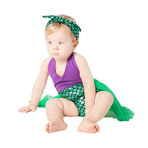 belababy 24M Toddler Girls Mermaid Romper Tutu with Headband (Mermaid Tutus)