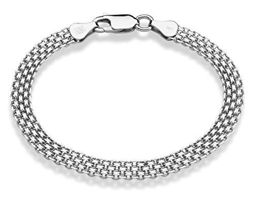 MiaBella 925 Sterling Silver Italian 6mm Solid Bismark Mesh Link Chain Bracelet for Women, 7