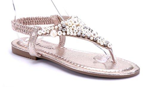 Schuhtempel24 Damen Schuhe Zehentrenner Sandalen Sandaletten Flach Ziersteine Gold