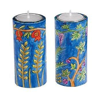 Shabbat Candlesticks Holders - Jewish Set - Yair Emanuel ROUND SHABBAT CANDLESTICKS SEVEN SPECIES (LARGE) (Bundle)