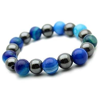 Armband Hamatit Und Achat Blau In Stein Perlen Cl3431 10 Mm Amazon