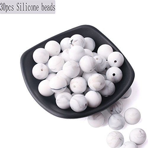 Diy Accessories for Jewelry DIY Beads Jewelry Making Silicone Beads Marble 30pcs Round 15mm Baby Silicone Teething Teething