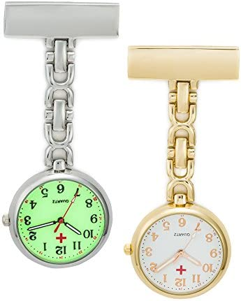 SEWOR Unisex Medical Staff Hanging Pocket Watch 2pcs with Brand Leather Box