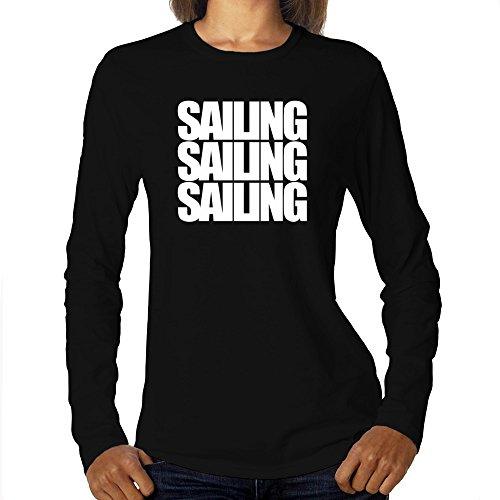 Eddany Sailing Three Words Maglietta a Maniche Lunghe da Donna