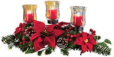 "Collections Etc Christmas Poinsettia Candle Holder Centerpiece with Pinecones, Red 20"" L x 9"" W x 9 1/4"" H"