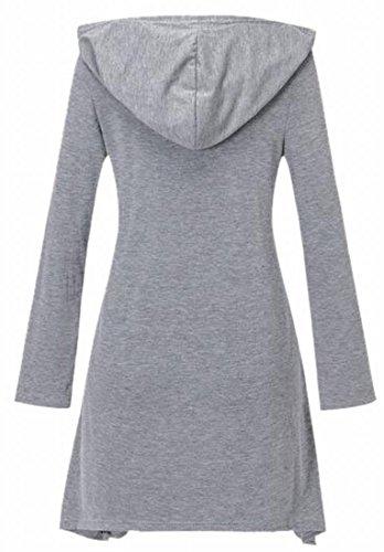 Jaycargogo Longue Robe Tunique De Poche Kangourou Hoodie Cou Manches V Féminin Haut Gris