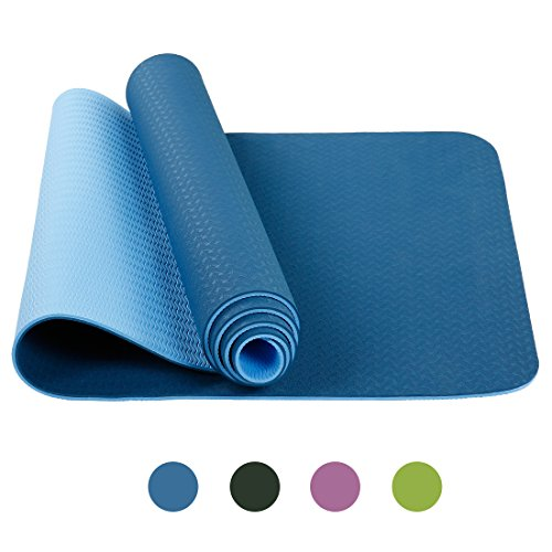 BLC Anti-Tear TPE Yoga Mat lightweight Anti-slip 6mm Premium Exercise Mat for Yoga Fitness and GYM Workout with Carrying Strap(Dark-Blue)