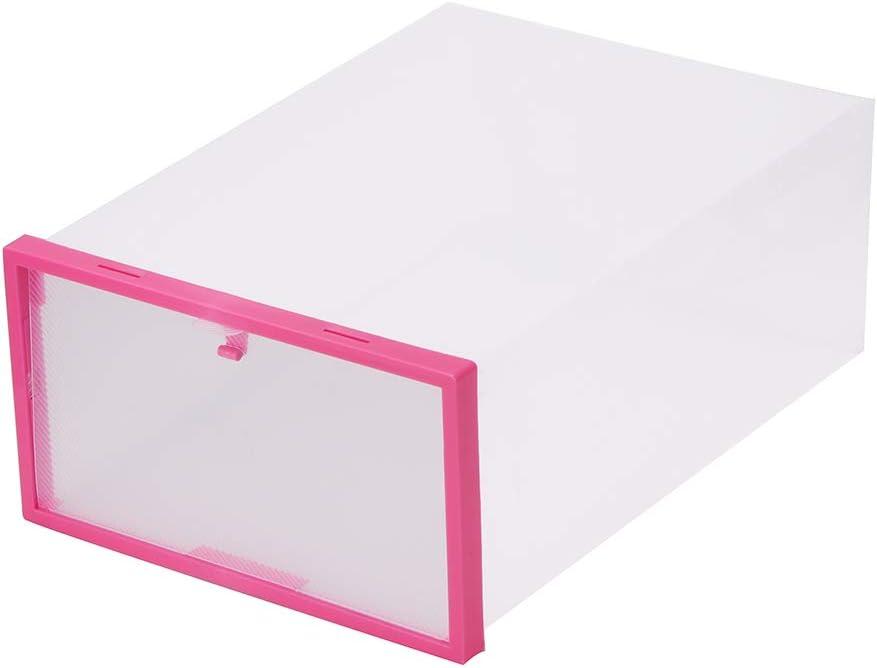 Houkiper Caja de Almacenamiento de Zapatos, Organizador de Caja de Almacenamiento con Tapa Transparente Portátil de Plástico con Tapa (Rojo)