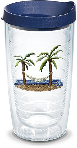- Tervis 1068055 Palm Tree & Hammock Scene Insulated Tumbler with Emblem and Navy Lid, 16oz, Clear