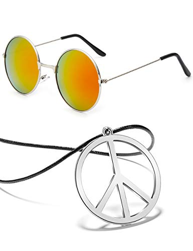 BOMAIL Hippie Dressing Accessory Set Hippie Glasses and Peace Sign Pendant Necklace for Women Men ()