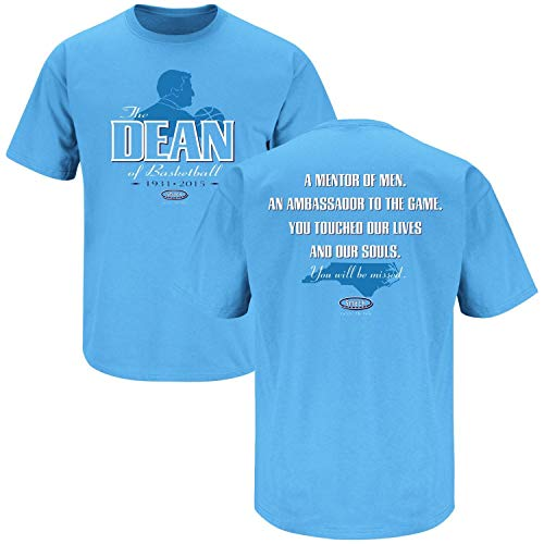 North Carolina Basketball Fans. The Dean of Basketball. Dean Smith Tribute Blue T-Shirt (Sm-5X) (Short Sleeve, 2XL) (North Carolina Basketball Tshirt)