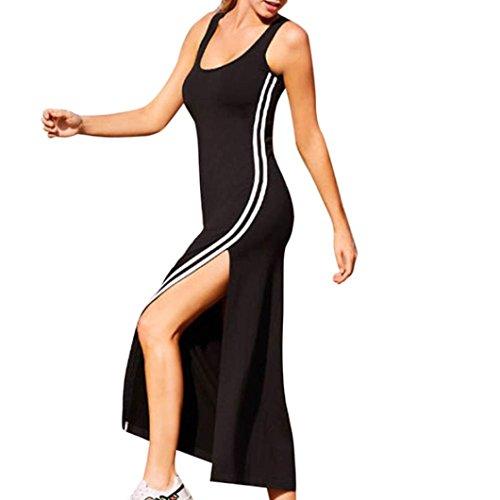 Vestido de Fiesta Mujer Sexy Sin Manga Verano Rayas Largo Vestido de Noche Casual Playa Falda ❤️LuckyGirls Negro