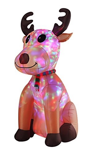 (8FT Inflatable Flashing Sitting Reindeer Indoor Outdoor Christmas Decorations)